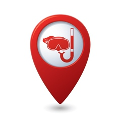 Mask and snorkel icon on map pointer vector