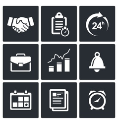 office business icons set vector image