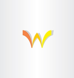 orange yellow letter w sign symbol vector image