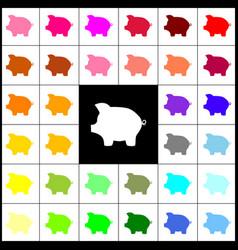 pig money bank sign felt-pen 33 colorful vector image
