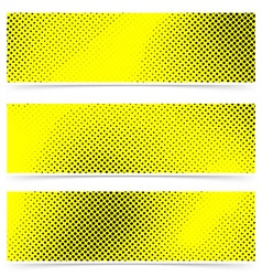 Pop art dot web yellow banner collection vector image vector image
