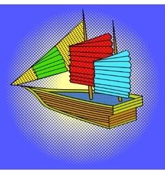 Sailing ship pop art vector image vector image