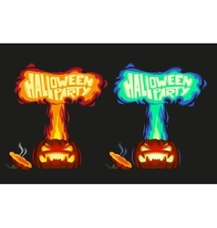 Scary pumpkin with fire vector image vector image
