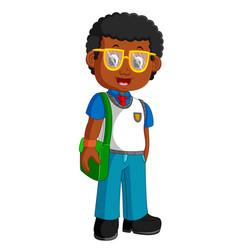 school boy cartoon walking vector image vector image