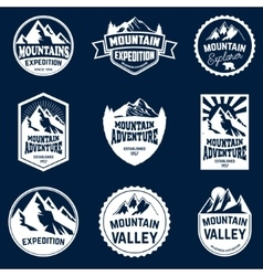 Set of mountains hiking and outdoor adventures vector