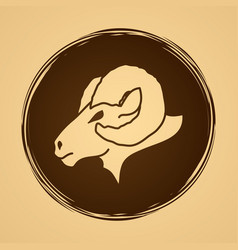 Sheep big horn head ovis face vector