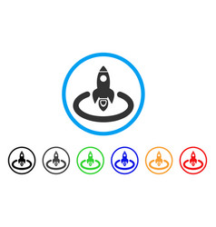 space rocket launch area rounded icon vector image vector image