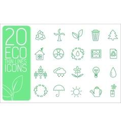 Thin line eco neture set icons concept desi vector