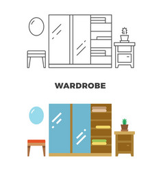 wardrobe concept design - flat and line style vector image