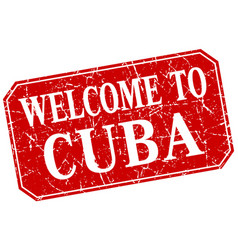Welcome to cuba red square grunge stamp vector