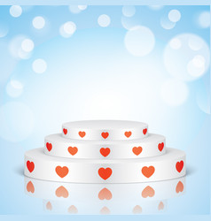 White romantic scene with red hearts vector