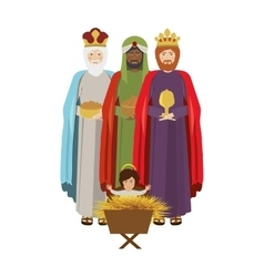 Wise man with offering a baby jesus vector