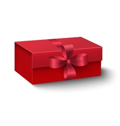 Red oblong gift box with red ribbon and bow vector