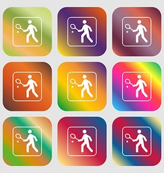 Tennis player sign icon Nine buttons with bright vector image