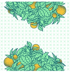 Card with drawing of a small tangerine tree vector