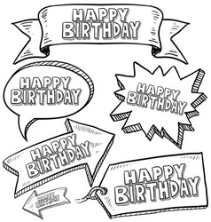 Doodle label tag banner happy birthday vector