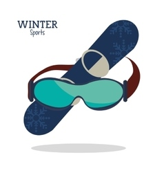 Winter sport glasses and snowboard graphic vector