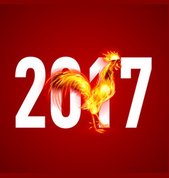Red cock fire rooster symbol of the new year by vector