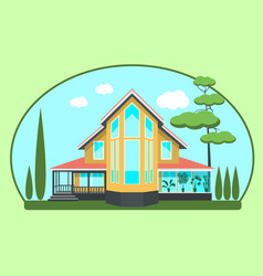 Modern cottage with a pine vector