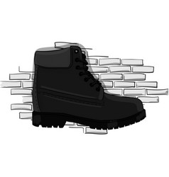 Casual gray shoes with a rough outsole with lacing vector