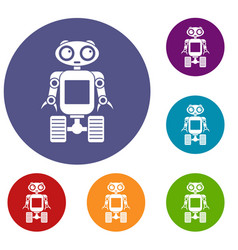 Robot on wheels icons set vector