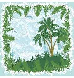 Tropical landscape palms trees and seagulls vector