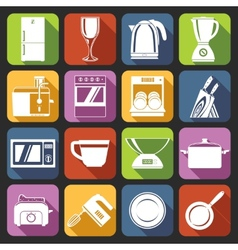 Kitchen appliances icons white vector