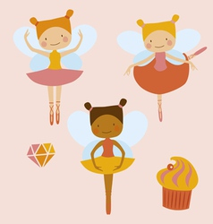 Little ballerinas fairies vector