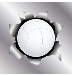 Volleyball thru metal sheet vector