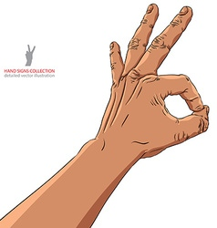 Okay hand sign african ethnicity detailed vector