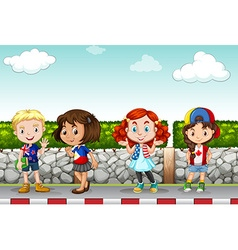 Children standing along the sidewalk vector