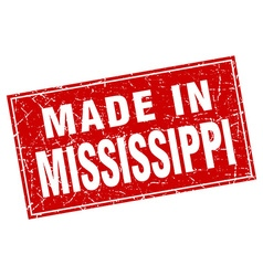 Mississippi red square grunge made in stamp vector