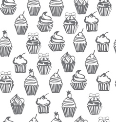 Monpchrome seamless pattern with cupcakes cute bac vector