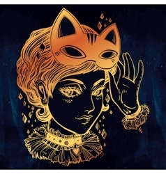 Anime or retro manga style woman with a cat mask vector image vector image