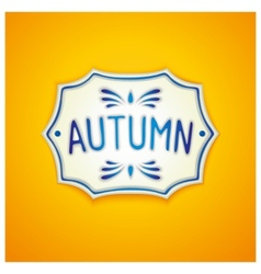 Autumn handmade gzhel label vector