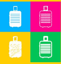 Baggage sign four styles of icon on vector