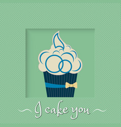 Blue cake with yellow bow on a green background vector