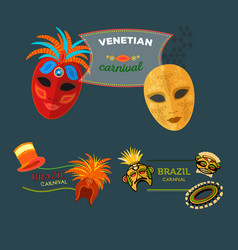Carnival italy and brazil web banner masks vector