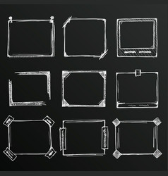chalkboard sketch of hand drawn frame set vector image