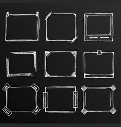 Chalkboard sketch of hand drawn frame set vector