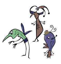 Cheerfu and funny cartoon insects vector