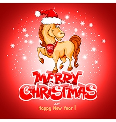 Christmas card with funny horse vector