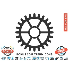 Clock Wheel Flat Icon With 2017 Bonus Trend vector image
