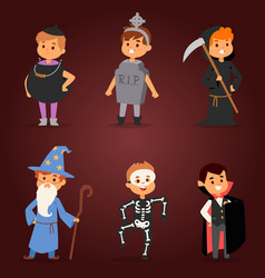 Cute kids wearing halloween party costumes vector