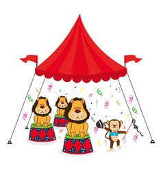 Cute lion animal circus vector