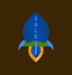Flat shading style icon sale rocket vector