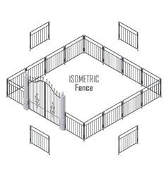 Isometric fence in dark colors isolated on white vector