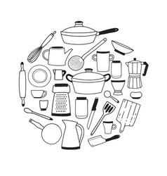 Kitchenware contour set on white background round vector