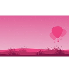 Landscape of valentine day with air balloon vector image vector image
