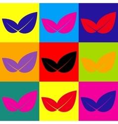 Leaf sign pop-art style icons set vector